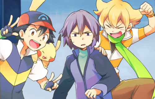 Pokemon Guys wallpaper containing anime called Ash with rivals