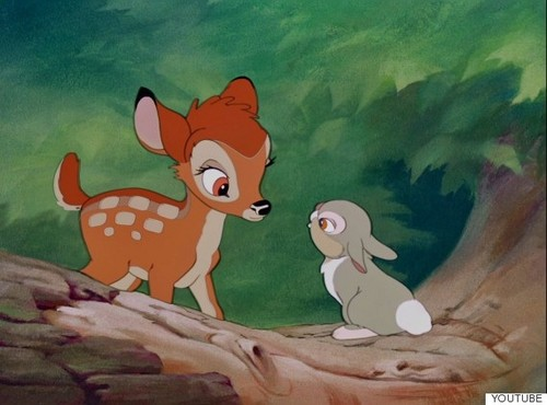 Childhood Animated Movie Characters wallpaper possibly with anime titled Bambi and Thumper