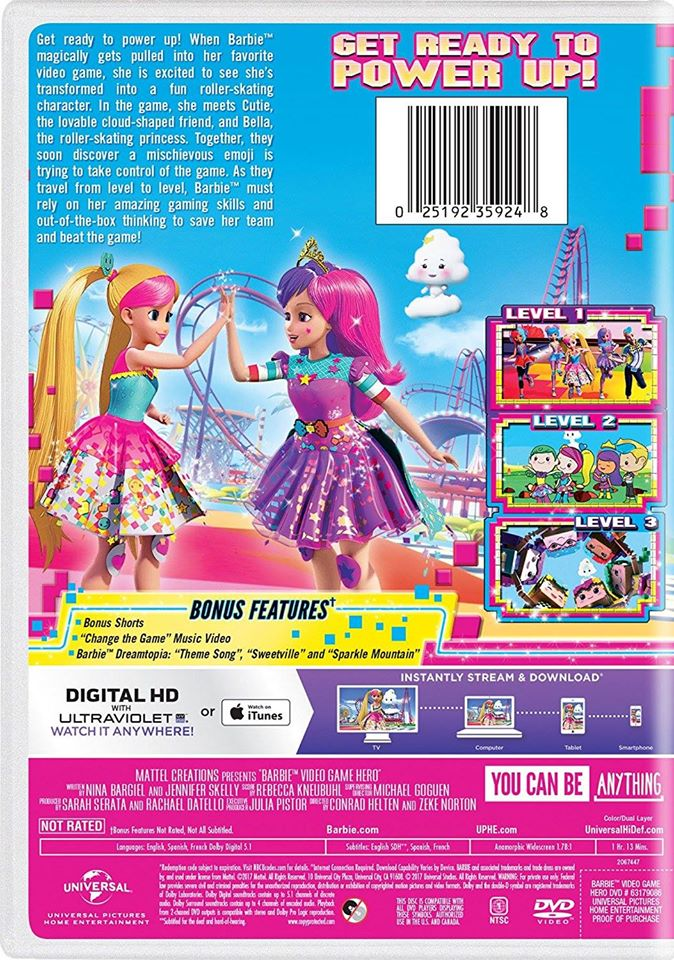 Barbie: Video Game Hero back cover