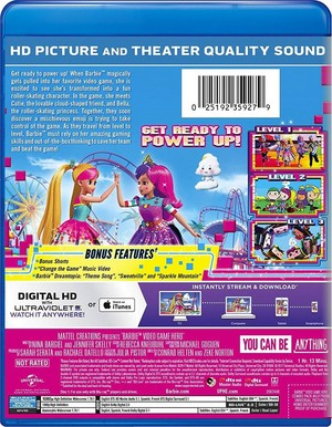 Barbie: Video Game Hero back cover blue-ray