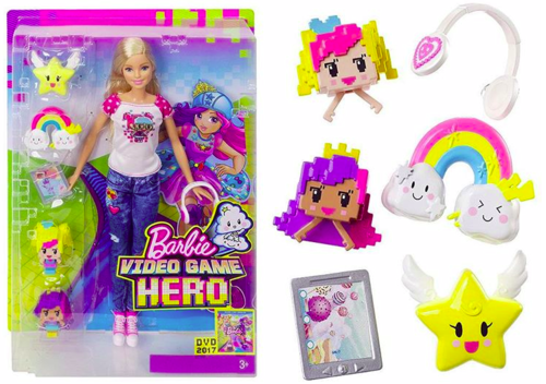 Sinema za Barbie karatasi la kupamba ukuta called Barbie Video Game Hero doll in box & accessories