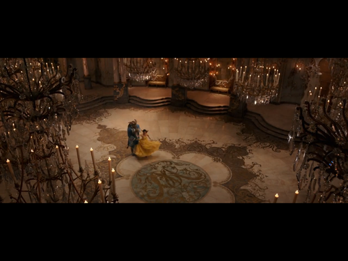 Beauty and the Beast (2017) वॉलपेपर probably with a living room, a sign, and a drawing room titled Belle Beast dance in the ballroom