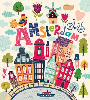 Bright Stylish Vector Illustration with Amsterdam Symbols.