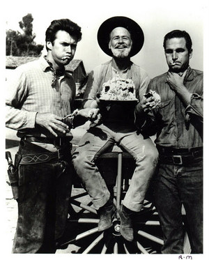 Clint Eastwood, Eric Fleming, Paul Brinegar posing for promotional picture for Rawhide