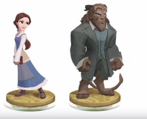 Beauty and the Beast (2017) karatasi la kupamba ukuta possibly containing a well dressed person and a business suit titled Disney Infinity 3.0 (cancelled) Belle and Beast figures