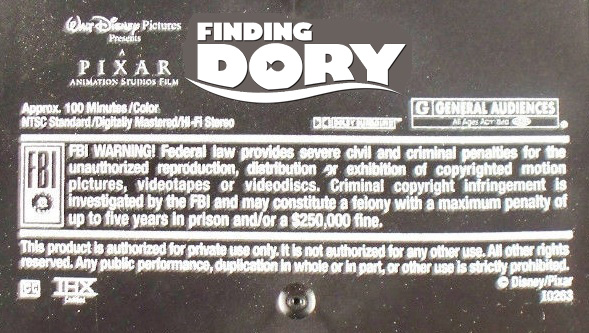 Disney•Pixar's Finding Dory (2003) VHS Black