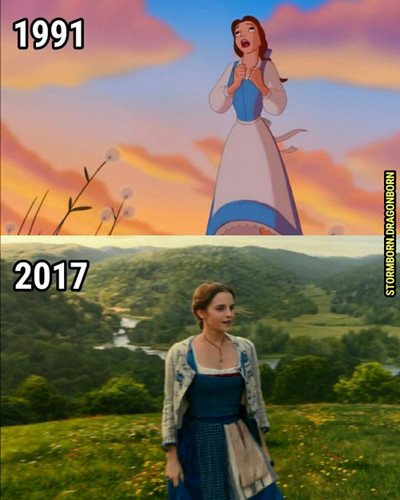 Beauty and the Beast (2017) achtergrond probably with a sign, a street, and a sundress called Belle (BATB 1991/2017)