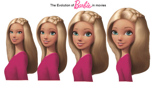 Barbie Movies wallpaper probably containing a portrait entitled Evolution of Barbie Movies