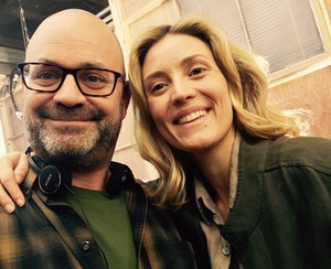 Graeme Manson and Evelyne Brochu on Set