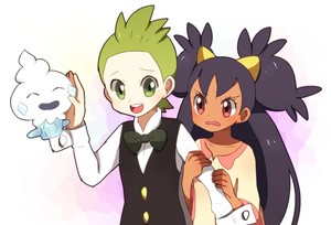 Iris and Cilan with Vanillite