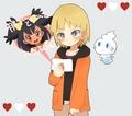 Iris and Trip with Vanillite - pokemon fan art