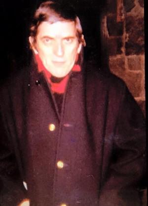 Jonathan Frid waiting for a bus, December, 1970