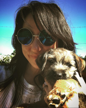 KT with a dog