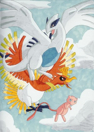 Lugia Ho Oh and Mew kwa Moyayuki on deviantART
