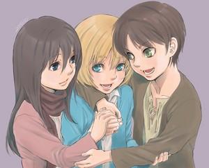 Mikasa, Armin and Eren // Shingeki no Kyojin