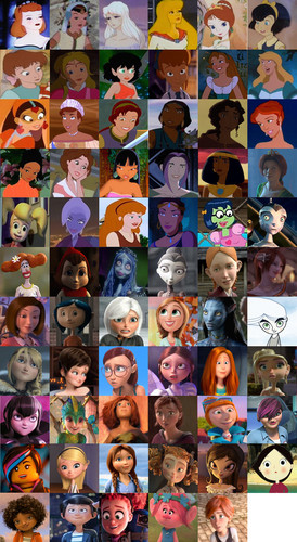 Childhood Animated Movie Heroines wallpaper entitled Non Disney Heroines Collage