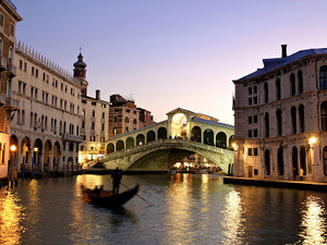 Rialto bridge grand canal Venice Italy