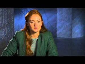 Sophie Turner in behind the scenes interview dressed as Jean Grey