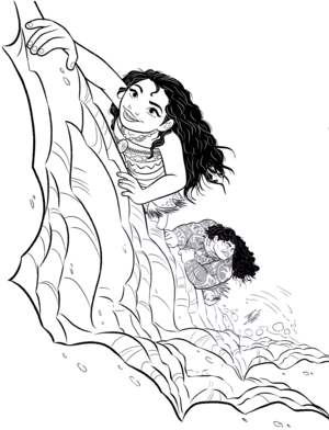 Walt 디즈니 Coloring Pages - Moana Waialiki & Maui