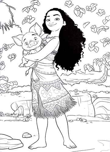 Walt Disney Characters wallpaper possibly containing anime titled Walt Disney Coloring Pages - Moana Waialiki & Pua