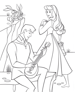 Walt 디즈니 Coloring Pages - Prince Phillip & Princess Aurora