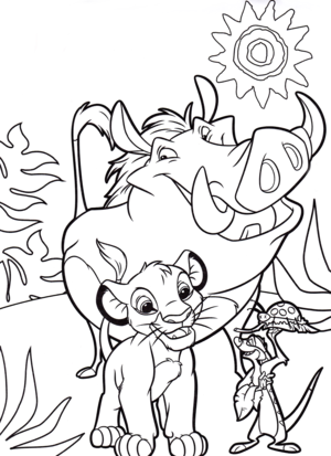 Walt Дисней Coloring Pages - Pumbaa, Simba & Timon