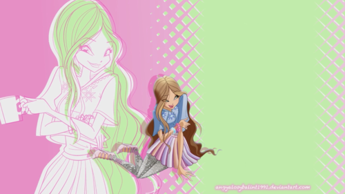 the winx club wallpaper probably with anime titled Winx WoW wallpaper - Flora