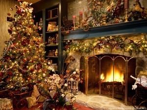 christmas interiors christmas tree and fireplace 8