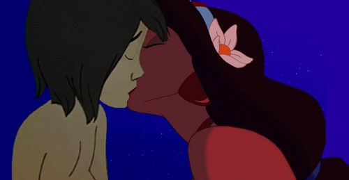 Crossover Disney wallpaper probably containing Anime entitled gelsomino and mowgli baciare