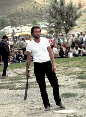 on the set of High Plains Drifter 1973