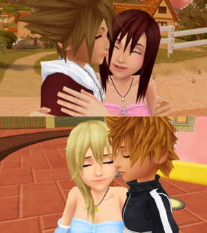 sora x kairi and roxas x namine sweet kiss