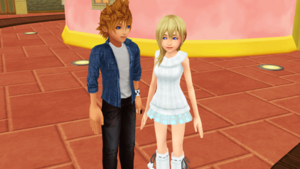 (Roxas)Ventus and Namine in Twilight Town Market rua