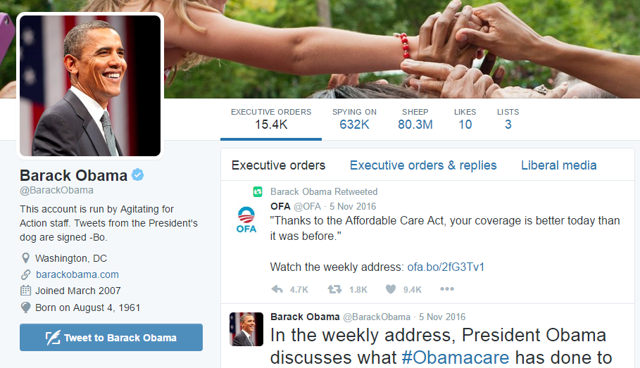 A lebih Accurate Obama Twitter profil