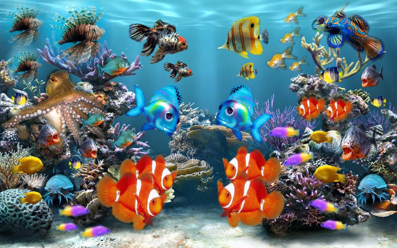 fond d'ecran anime poisson qui bouge