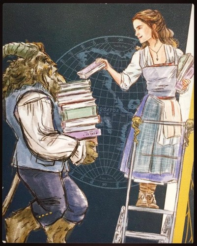 Beauty and the Beast (2017) kertas dinding titled Belle and Beast (and Books)