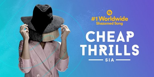"Sia wallpaper titled ""Cheap Thrills"" is the #1 most Shazamed song in world this year! (2016)"