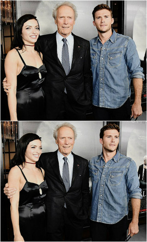Clint Eastwood, Francesca Eastwood, and Scott Eastwood attend the screening of 'Sully'