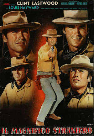 Clint Eastwood ~Rawhide-the Magnificent Stranger Italian movie poster 1966 art দ্বারা Franko Fiorenzi
