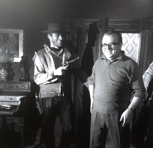 Clint Eastwood and Sergio Leone fooling around on the set of A Fistful of Dollars