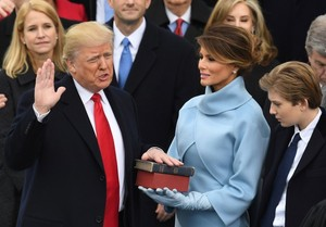 Donald J Trump being sworn in as 45th President