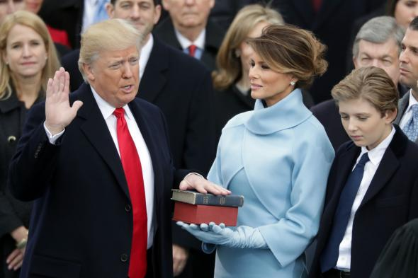 Donald J. Trump being sworn in as 45th President