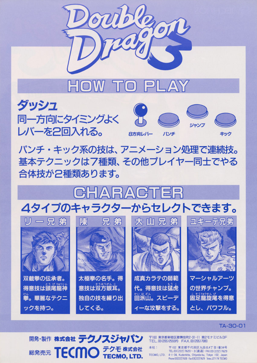 Double Dragon 3 - Japanese Arcade Flyer