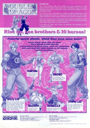Double Dragon - Neo Geo Flyer(Back)