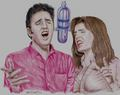 Drawing - elvis-aaron-presley-and-lisa-marie-presley fan art