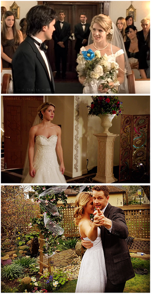 Emily Bett Rickards + Wedding Dresses.