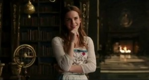 Emma Watson presenting the new 'Beauty and the Beast' TV spot