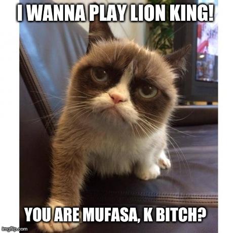 Funny Grumpy Cat Meme I Wanna Play Lion King You Are Mufasa K Bitch Image laishi_loweii 40159466 460 460 laishi_loweii images funny grumpy cat meme i wanna play lion king