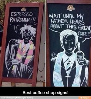 Harry Potter Coffee duka signs