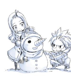 Hiro Mashima--natsu and mira-snowman