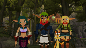 Jak and Daxter with Keira and Tess MMD in Haven Forest